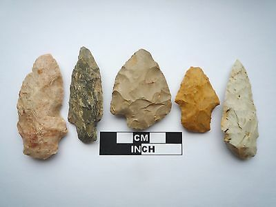 Native American Arrowheads x 5, Genuine Archaic Artifacts, 1000BC-8000BC (0803)