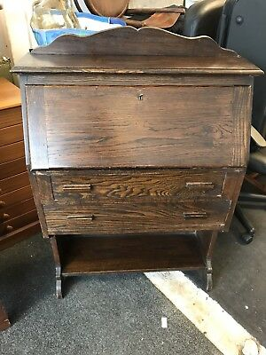An Antique Solid Oak Student Bureau Bookshelf