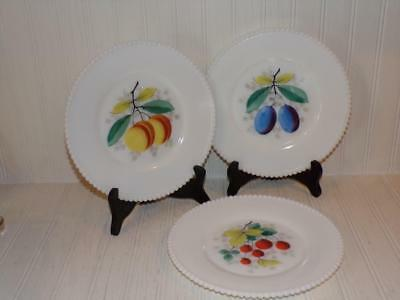Westmoreland Milk Glass Beaded Edge Luncheon Plates - Set of 3