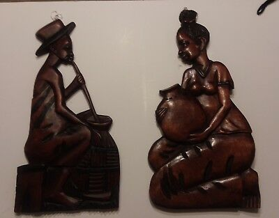 """Vintage Hand Carved Wood 12"""" African Male and woman Wall Hanging Plaque"""