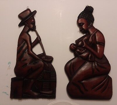 Hand Carved mahogany Wood African Male and woman Wall Hanging Plaque