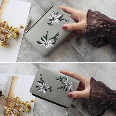 Small Cash Bifold Print Flower Coin Purse Photo Purse PU Clutch Pocket Wallet