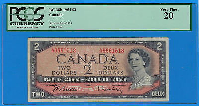1954 Bank of Canada Queen Elizabeth $2 Two Deux Dollar Note BC-38b PCGS VF 20