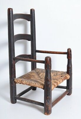 Antique 1700s New England Child's Slat back arm Chair Brown red paint Ladderback