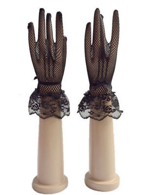Black Sexy Lace Short Bridal Full Gloves Wedding Evening Party Pageant Gloves