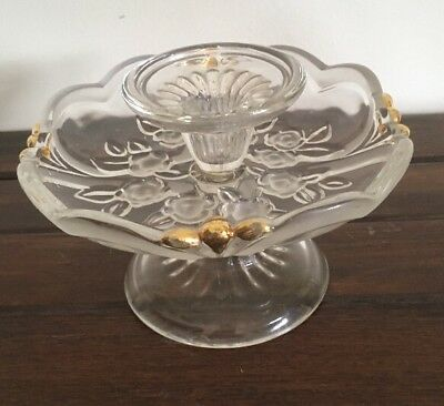 Stunning Decorative Crystal Glass Tea light Holder Compote With Gold Gilding