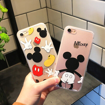 Cartoon Mickey Minnie Mouse Back Clear Cover Case For iPhone 10 X 8 7 6 6S Plus