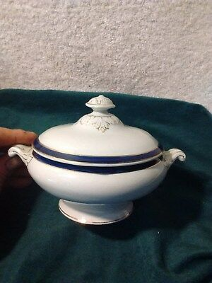 Sauce Tureen white and cobalt blue with gold trim, Fine China