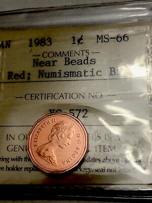 1983 Canadian Small Penny 1 Cent - ICCS Graded MS-66 NEAR BEADS BU