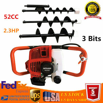 "52CC Gas Powered Post Hole Digger Drill Earth Auger Power with 4"" 6"" 8"" Bit USA"