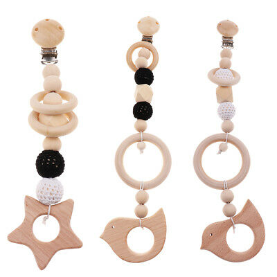 Wood Pacifier Clip Wooden Bead Dummy Clip Holder Soother Chain Baby Teething Toy