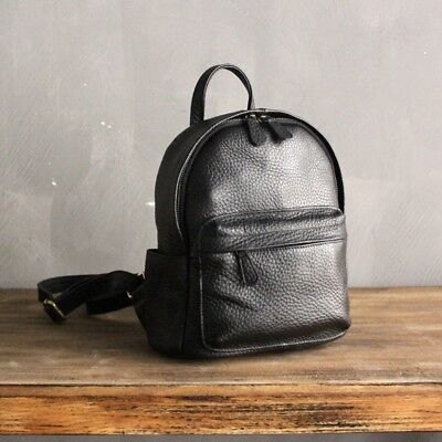 Original Genuine Cow Leather Women's Small Travel Backpack Soft Daypack Rucksack