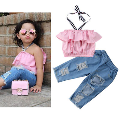 US Fashion Girls Kids Toddler Halter Tops Ripped jeans 2Pcs Outfits Set Clothes
