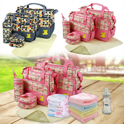Laminated Water Proof Insulated Thermal 5pcs Baby Nappy Changing Hospital Bags