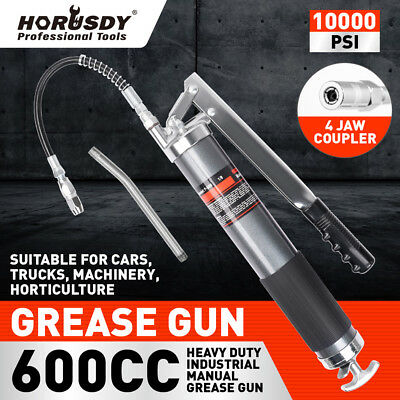 Heavy Duty 600cc Manual Grease Gun Flexible Hose Coupler 10000PSI Oiling Tools