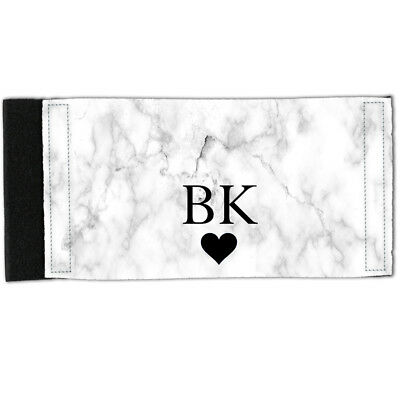 Stubby Holder - Neoprene Can Cooler - PERSONALISED Initial White Marble Y01502