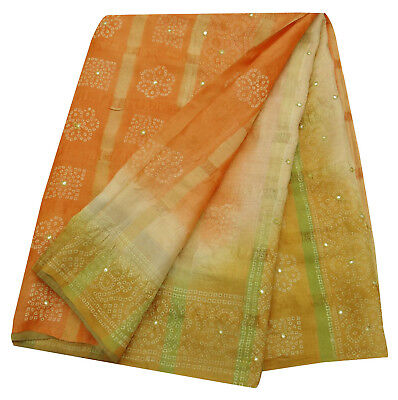 Weinlese-Saree Indian Khadi Silk Bandhani Printed orange Craft Stoff Sari 5YD.