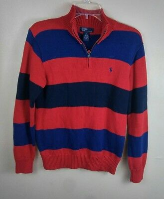 Polo Ralph Lauren Youth Boys Stripe Half Zip Pullover Sweater Sz Large