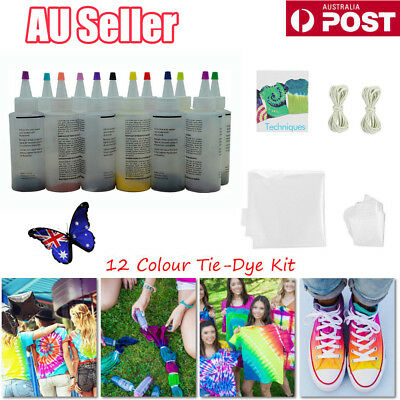 5~12 Colour Bottle Tie Dye Kit + 40 Rubber Band + 4 Pairs Vinyl Gloves DIY Kit W