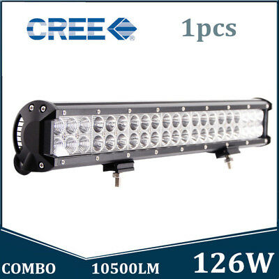 20INCH 126W CREE Led Light Bar Flood Spot Combo Work Driving Offroad 4WD Truck