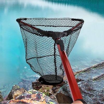 Folding Aluminum Handle Fishing Mesh Landing Net 3Section Extending Pole Fishing