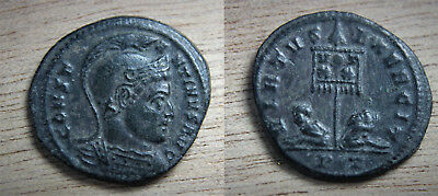 NM Constantine the Great Helmeted bust Ticinum Mint 319-320AD Captives rev