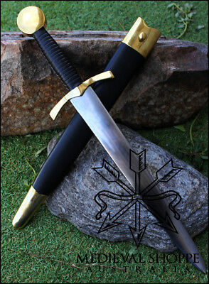 Large 14th Century Dagger - EN45 Steel, Sharp with scabbard - Medieval