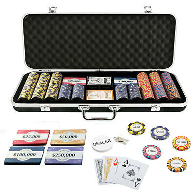 400 Chips 10 Plaques Monte Carlo Poker Set Black Case Plastic Cards Casino New