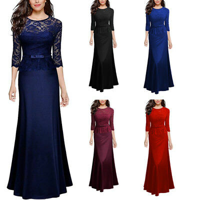 UK Women 3/4 Sleeve Long Prom Lace Evening Bridesmaid Party Maxi Dress Burgundy