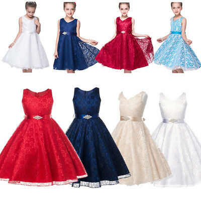Girl Kid Flower Dress Bridesmaid Party Princess Prom Wedding Christening Dresses
