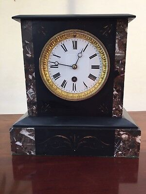 Antique Gilded Black Slate And Marble Mantle Clock