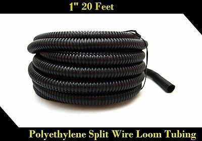 "Wire Loom Black 20' Feet 1"" Split Tubing Hose Cover Auto Home Marine by Nippon"