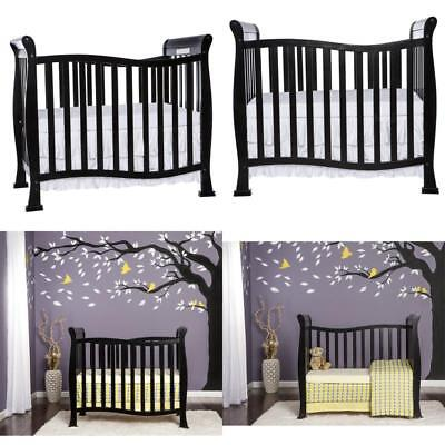 4In1 Convertible Mini Crib Toddler Bed Baby Bed Nursery Furniture Black