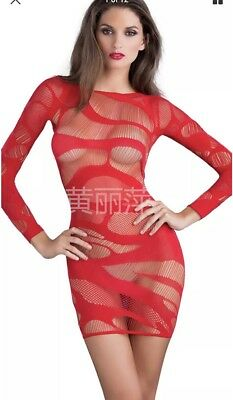N80 Red Fishnet Mini Dress Exotic Dancer Stripperwear Outfit