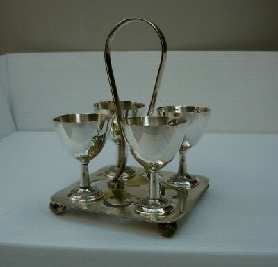 Antique EP silver Chatterley 1896 4-egg eggcup holder in good condition