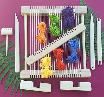"Weaving Loom Craft Kit - Hand Made "" Snowy Owl - Rainbow "" Large Deluxe Steiner"