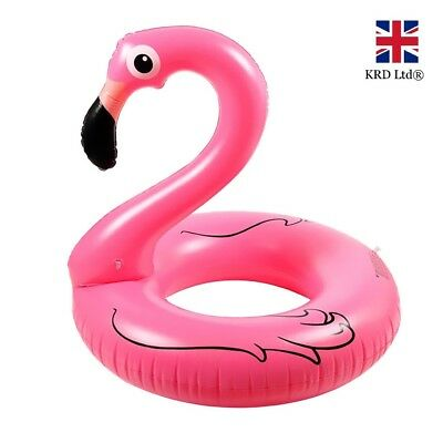 "36"" GIANT INFLATABLE FLAMINGO SWIMMING RING Water Float Raft Pool Fun Beach UK"