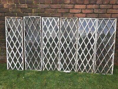 Antique Victorian Cast Iron Diamond Pattern Windows DELIVERY AVAILABLE