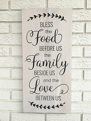 """Large Rustic Wood Sign - """"Prayer Bless The Food""""  Fixer Upper, Floral Wreath"""