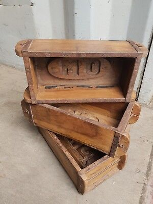 Vintage Brick Mould, Wooden Storage Box, wooden shelving display