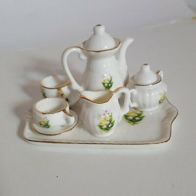 Lefton Children's Miniature Doll Tea Service Set Porcelain Lily of Valley  9572