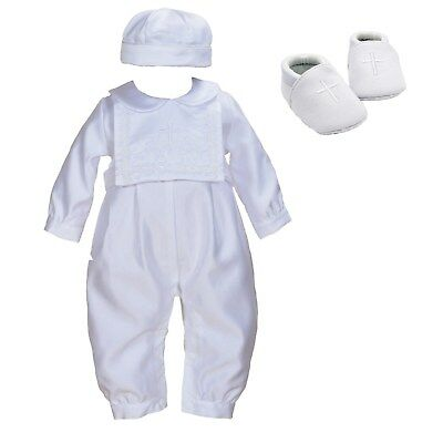 Boys White Satin Christening Romper Set Hat Bib Shoes 0-3 3-6 6-9 9-12 Month