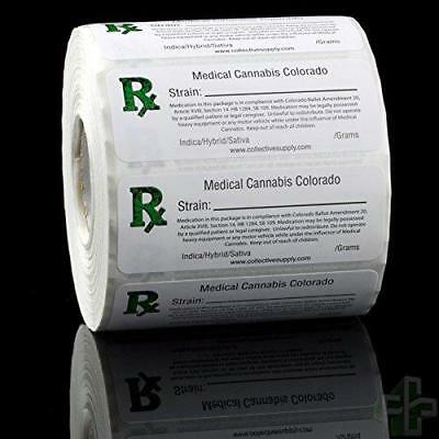 Colorado Rx Medical Marijuana Compliant Strain Labels - 1000pcs Free Shipping