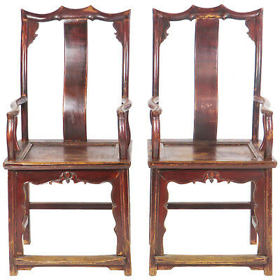 Pair of Antique Chinese High Back Elm Armchair Red Lacquer, Antique Asian Chair
