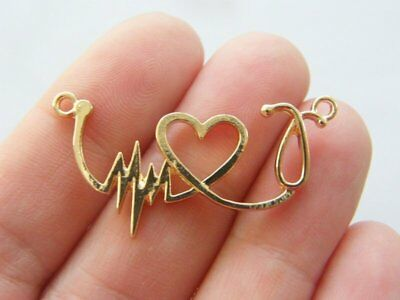 4 Heart rate beat heart stethoscope connector charms gold plated tone GC298