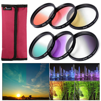 6pcs Graduado Filtro de Color Kit para Nikon D3100 D3200 D5100 DSLR 52mm LF348
