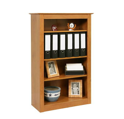 Traditional 4 Shelf Bookcase Solid Build Antique Pine Book Shelves Display Unit