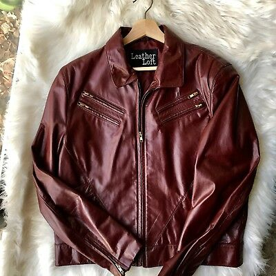 Vintage Women's Maroon Leather Loft Patent Leather Jacket, Size 44