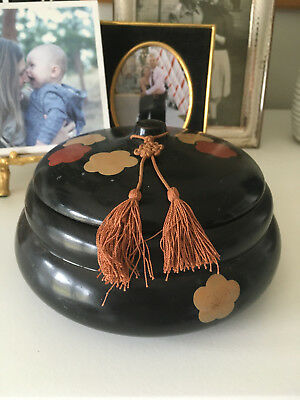 Antique Art Deco Chinese/ Japanese Lacquered Tassel Basket Jewelry Box