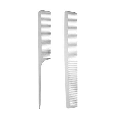 2x Salon Hair Styling Hairdressing Cutting Barber Stainless Steel Comb Brush